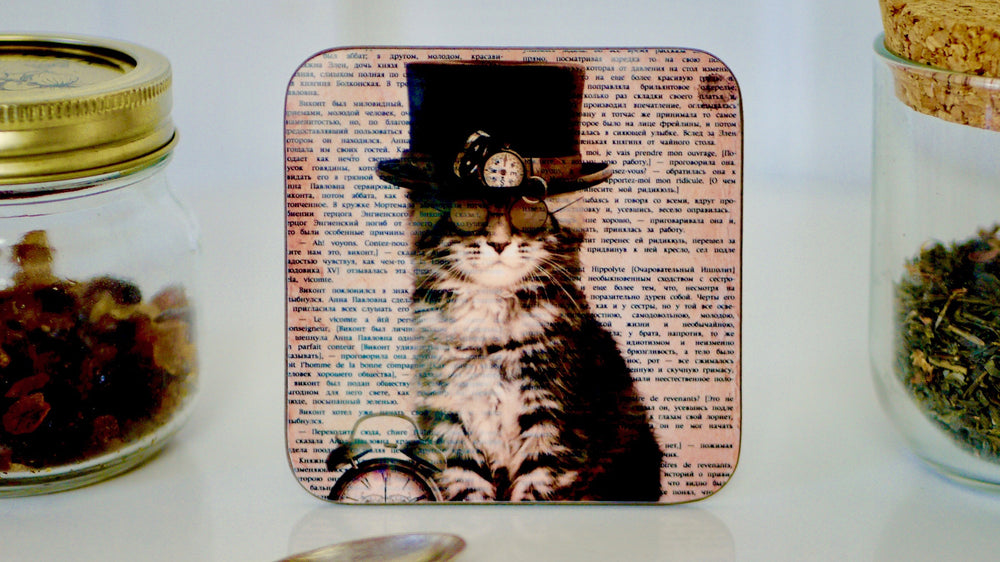 Steampunk Cat in Top Hat Coaster - Steampunk Collection - Kitsch Republic