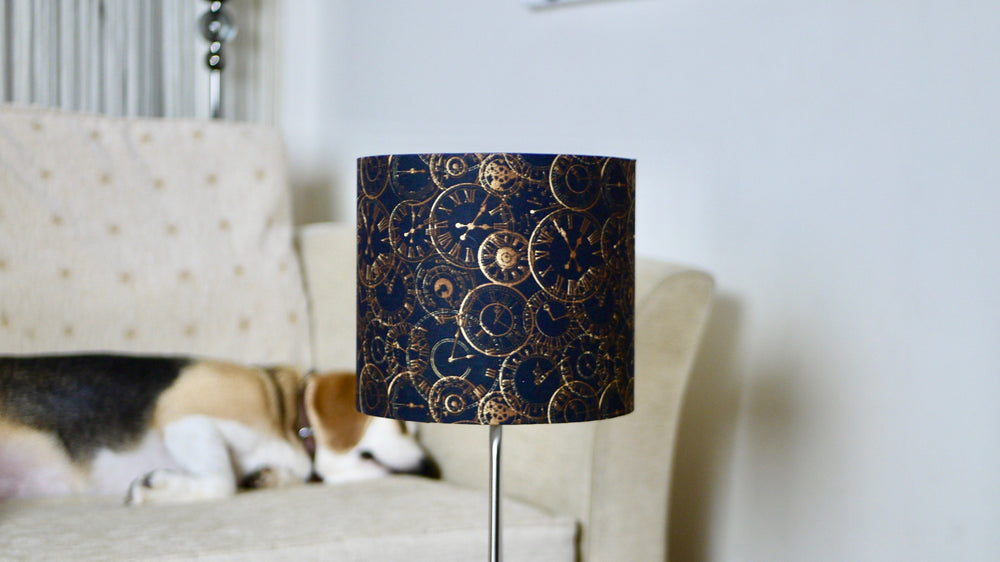 Black and Gold Classic Clock Print Lampshade - Steampunk - Kitsch Republic