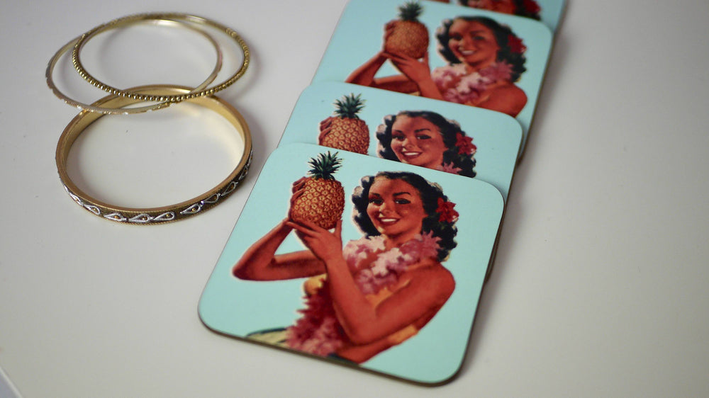 Load image into Gallery viewer, Tiki Pineapple Pinup - Set of 4 Coasters - Kitsch Republic