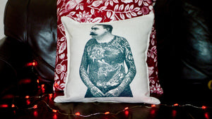 Tattoo Man Cushion - Canvas Feel Cushion inc. Inner 40cm x 40cm - Kitsch Republic