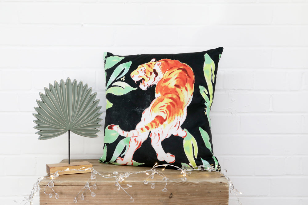 Load image into Gallery viewer, Tiger Black Velvet Cushion - Kitsch Republic