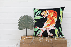 Tiger Black Velvet Cushion - Kitsch Republic