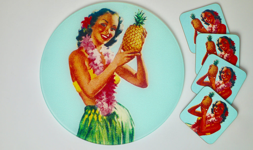 Tiki Pinup Pineapple Tropical Worktop Saver - Chopping Board - Placemat - Kitsch Republic