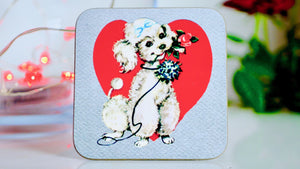 Load image into Gallery viewer, Poodle Valentines Dog Coaster - Kitsch Republic