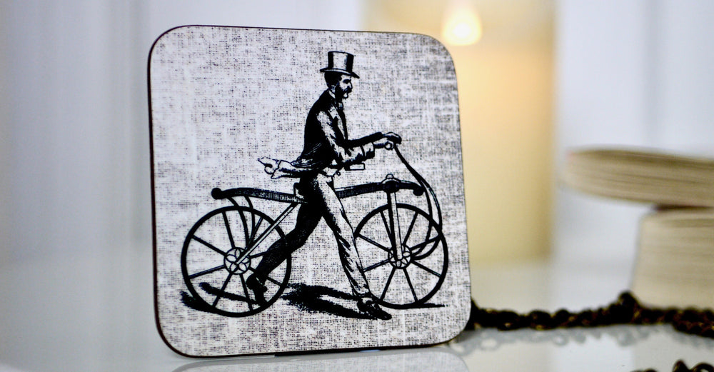 Load image into Gallery viewer, Vintage Victorian Man on Bike Coaster - Steampunk Collection