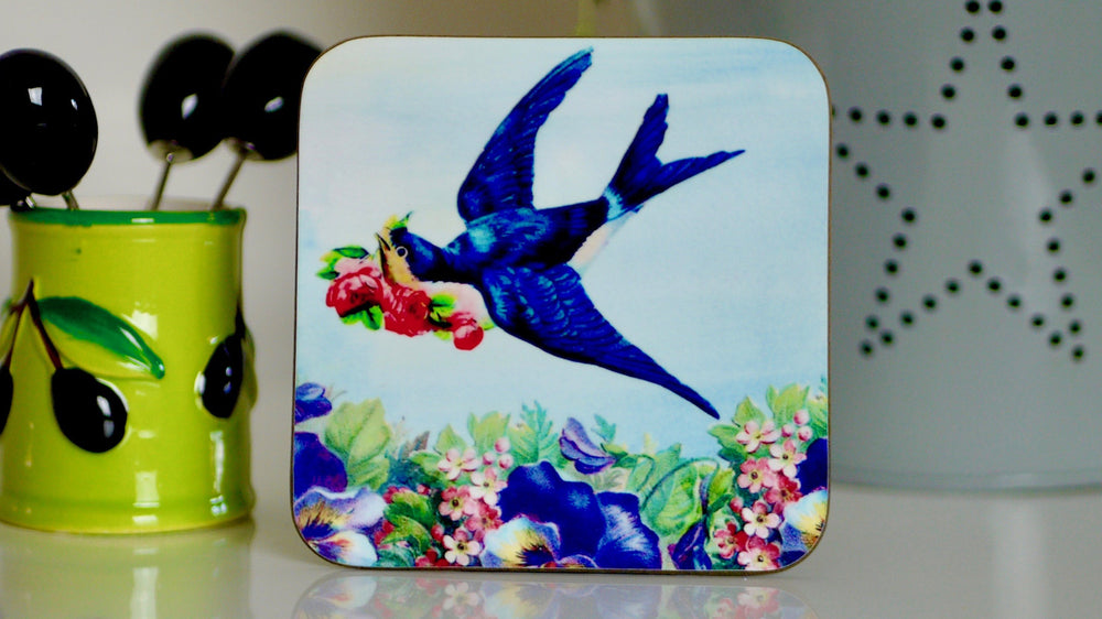 Vintage Swallows Birds Coaster
