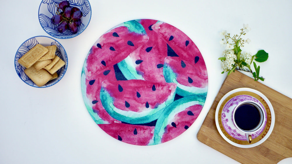 Tropical Watermelon Glass Worktop Saver - Chopping Board - Placemat - Kitsch Republic
