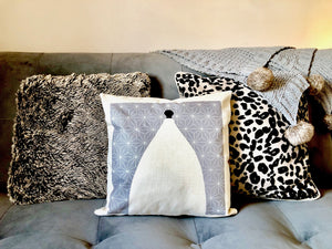Bollington White Nancy Grey Cushion  - Canvas Feel Cushion inc. Inner 40cm x 40cm - Kitsch Republic