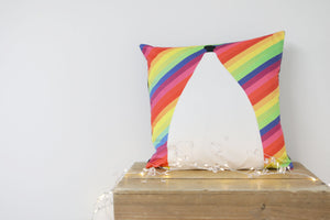 Load image into Gallery viewer, White Nancy Bollington Rainbow Stripe Velvet Cushion