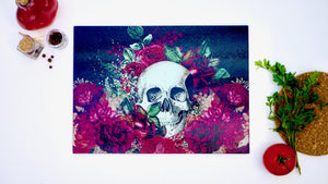 Black Skull and Flowers 40cm x 30cm Worktop Saver - Kitsch Republic