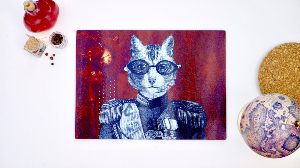 Load image into Gallery viewer, Steampunk Military Cat 40cm x 30cm Worktop Saver