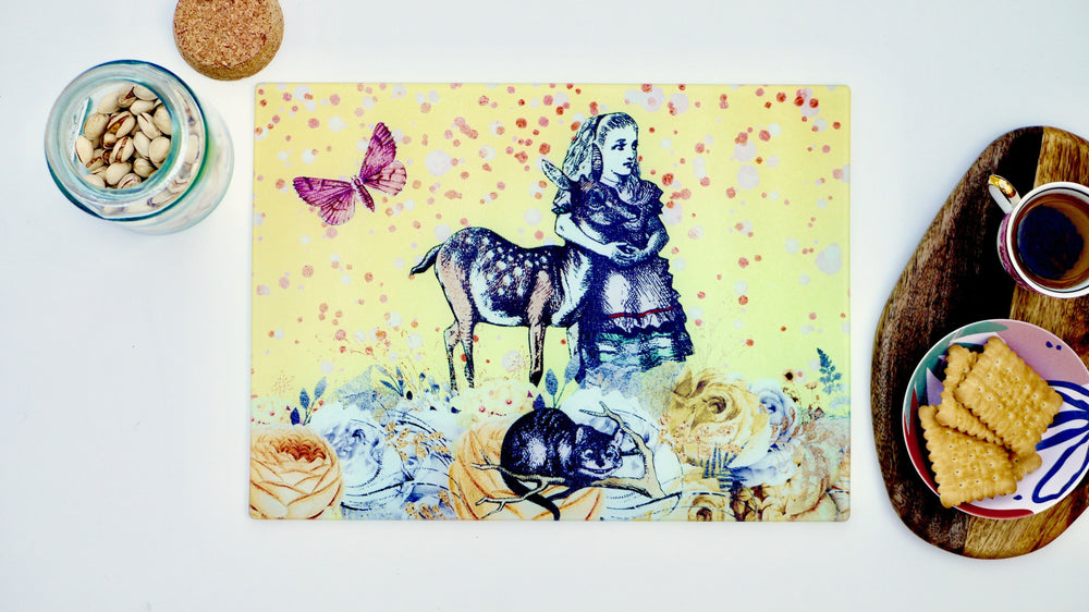 Load image into Gallery viewer, Alice in Wonderland Yellow 40cm x 30cm Worktop Saver