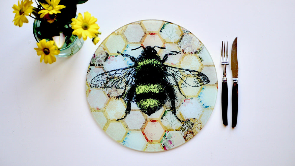 Load image into Gallery viewer, Yellow Patchwork Bee Glass Worktop Saver - Chopping Board - Placemat