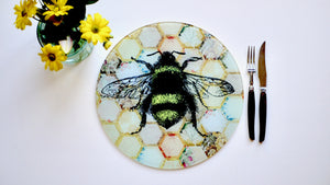 Yellow Patchwork Bee Glass Worktop Saver - Chopping Board - Placemat