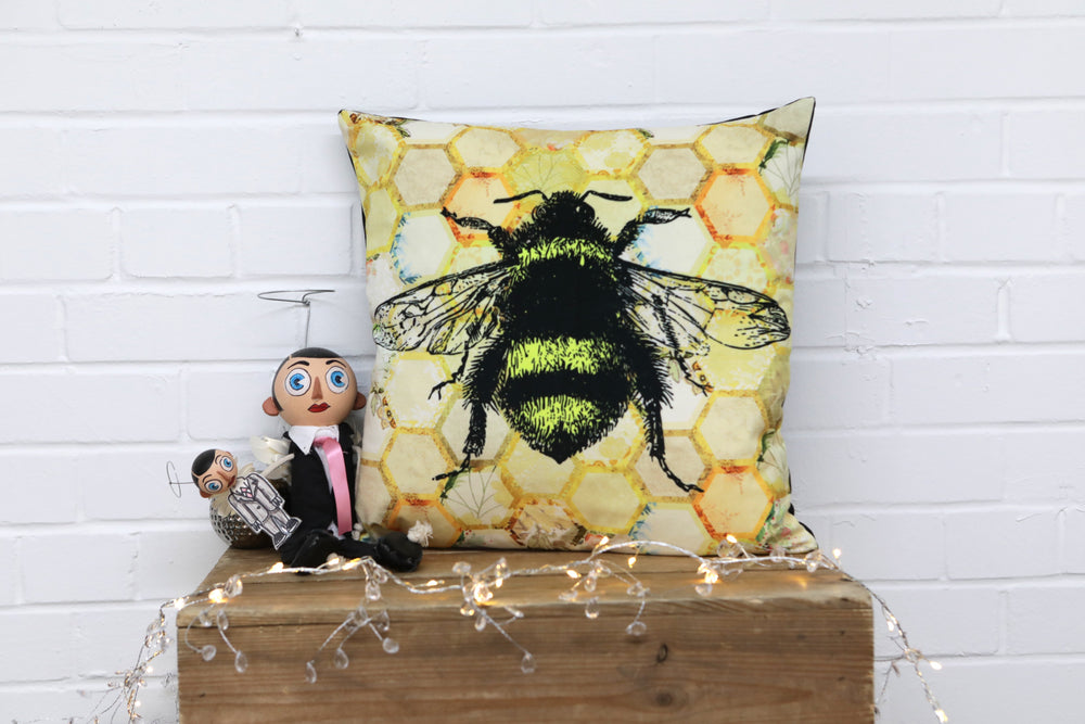 Yellow Bee Velvet Cushion