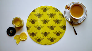 Load image into Gallery viewer, Yellow Small Bee Glass Worktop Saver - Chopping Board - Placemat - Kitsch Republic