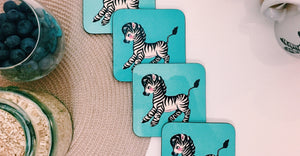 Cute Retro Zebra  - Set of 4 Coasters - Kitsch Republic