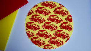 VW Beetle Yellow Red Bee Glass Worktop Saver - Chopping Board - Placemat