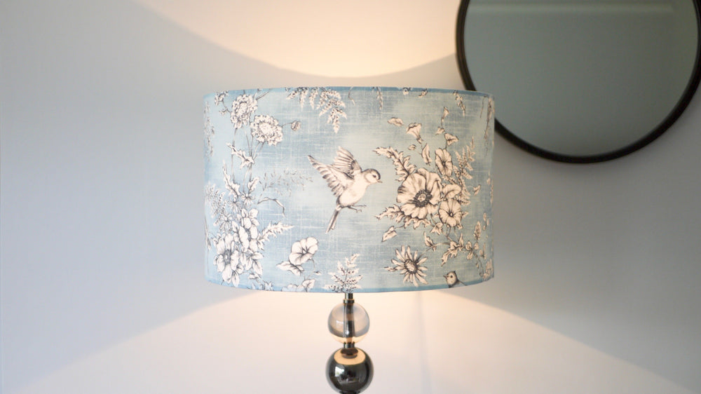 Load image into Gallery viewer, Blue Bird Lampshade Light On