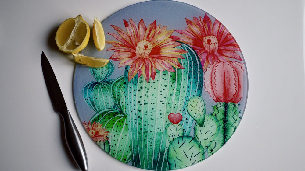 Cactus / Succulents Glass Worktop Saver - Chopping Board - Placemat