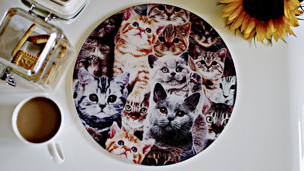 Crazy Cat Glass Worktop Saver - Chopping Board - Placemat - Kitsch Republic