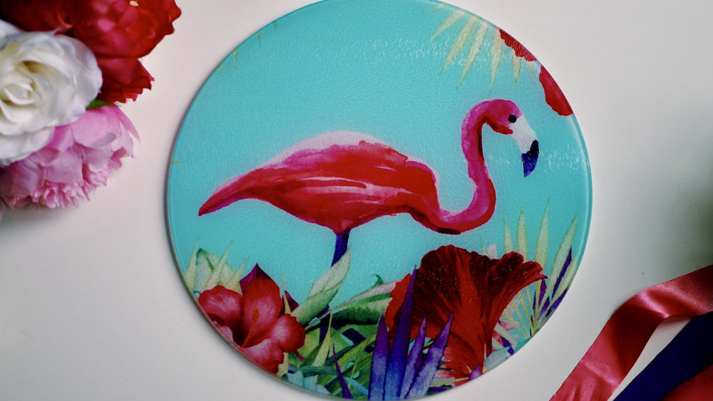 Blue and Pink Flamingo Tropical Worktop Saver - Chopping Board - Placemat - Kitsch Republic