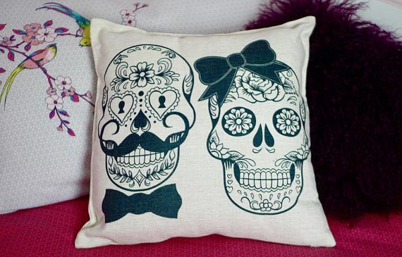 Load image into Gallery viewer, Mr and Mrs Skull Cushion - Canvas Feel Cushion inc. Inner 45cm x 45cm