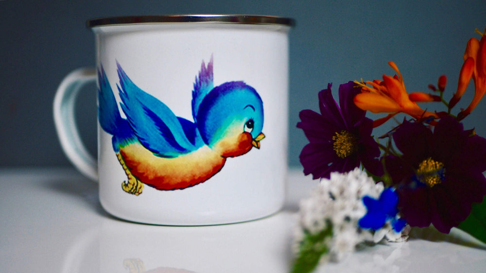 Retro / Kitsch Bird  - Enamel Mug - Kitsch Republic