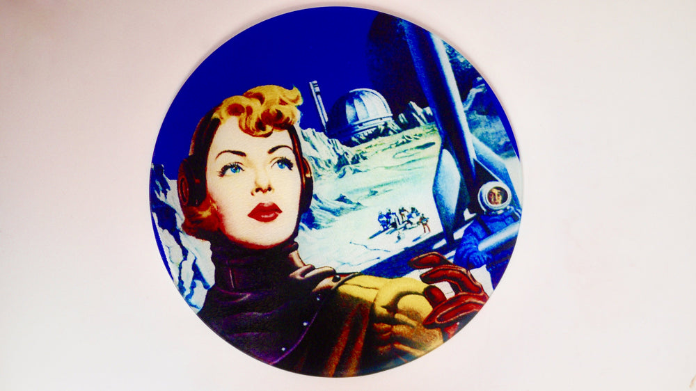 Blue Sci Fi Pinup Space Glass Worktop Saver - Chopping Board - Placemat