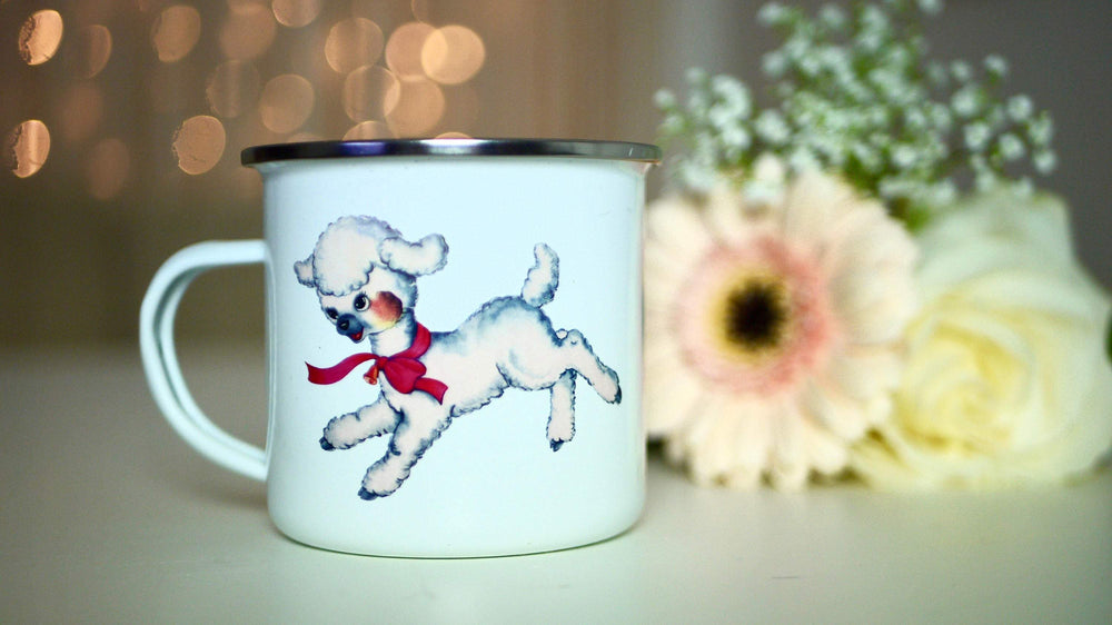 Retro Lamb - Enamel Mug - Kitsch Republic