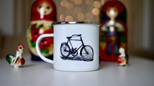 Vintage Bicycle Print - Enamel Mug - Kitsch Republic