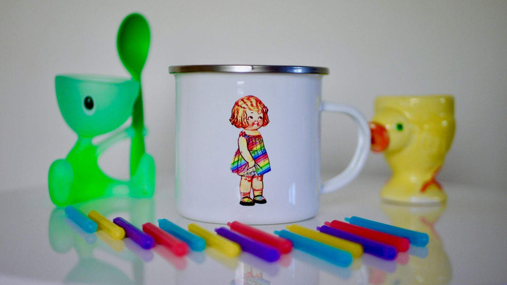 Cute Rainbow Dress Girl - Enamel Mug - Kitsch Republic
