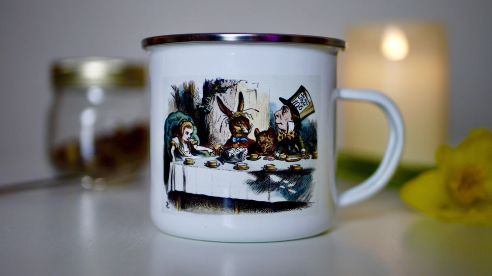 Load image into Gallery viewer, Alice in Wonderland - Mad Hatters Tea Party Enamel Mug - Kitsch Republic