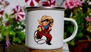 Cute Retro Cowboy - Enamel Mug - Kitsch Republic