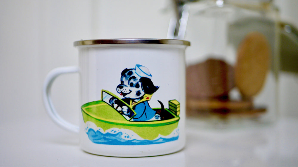 Cute Retro Dog - Enamel Mug - Kitsch Republic