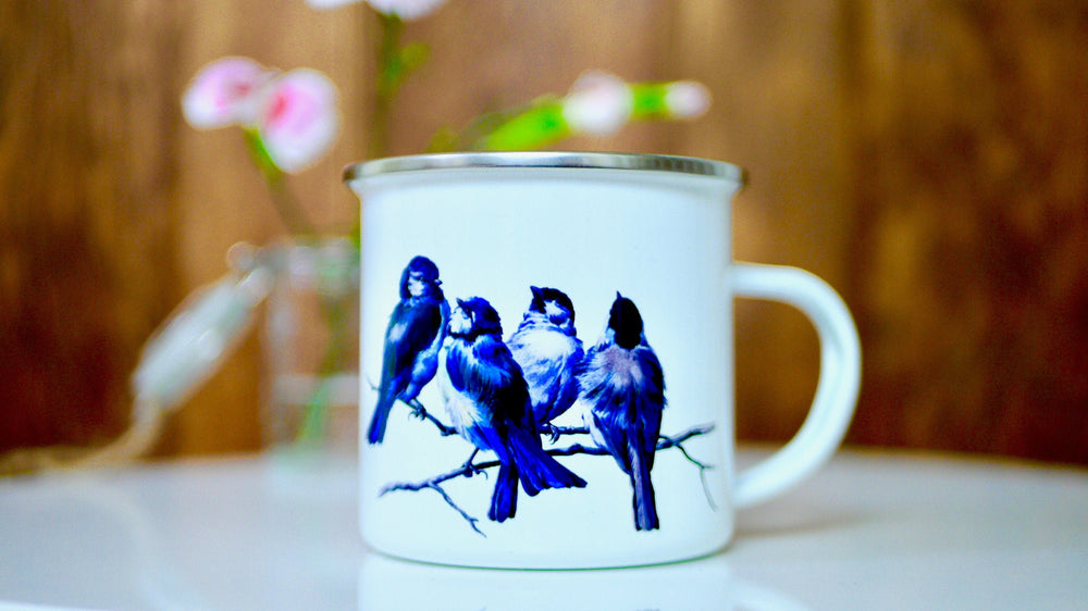 Vintage Blue Birds - Enamel Mug - Kitsch Republic