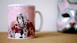 Load image into Gallery viewer, Alice in Wonderland Pink Mad Hatter Ceramic Mug