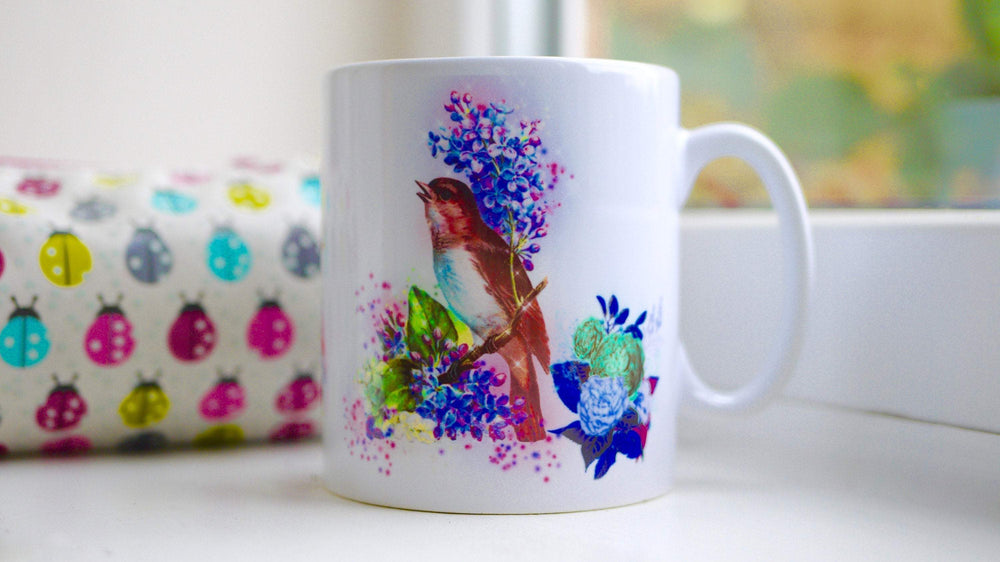 Vintage Bird Floral Mug - Ceramic Mug - Kitsch Republic