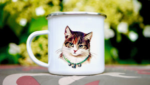 Cute Retro Cat - Enamel Mug - Kitsch Republic