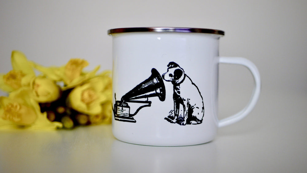 Load image into Gallery viewer, HMV His Masters Voice Dog - Enamel Mug - Kitsch Republic