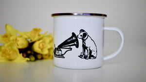 HMV His Masters Voice Dog - Enamel Mug