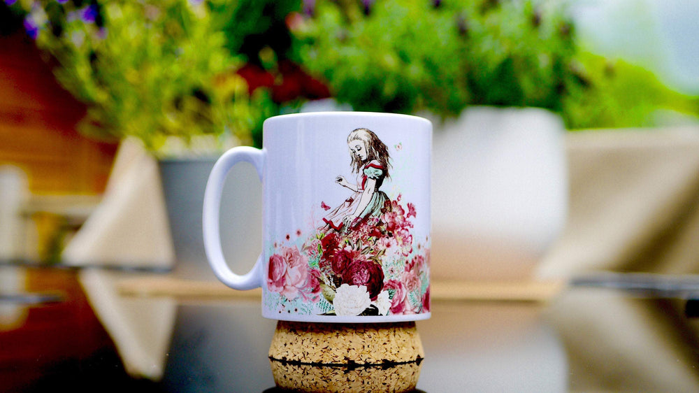 Load image into Gallery viewer, Alice in Wonderland - Pink Floral Ceramic Mug - Kitsch Republic