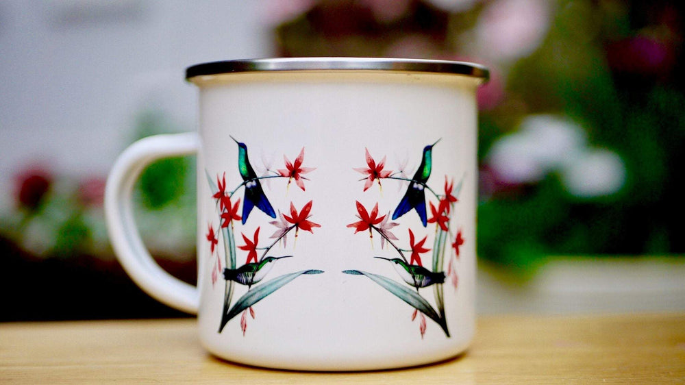 Load image into Gallery viewer, Hummingbirds Birds - Enamel Mug - Kitsch Republic