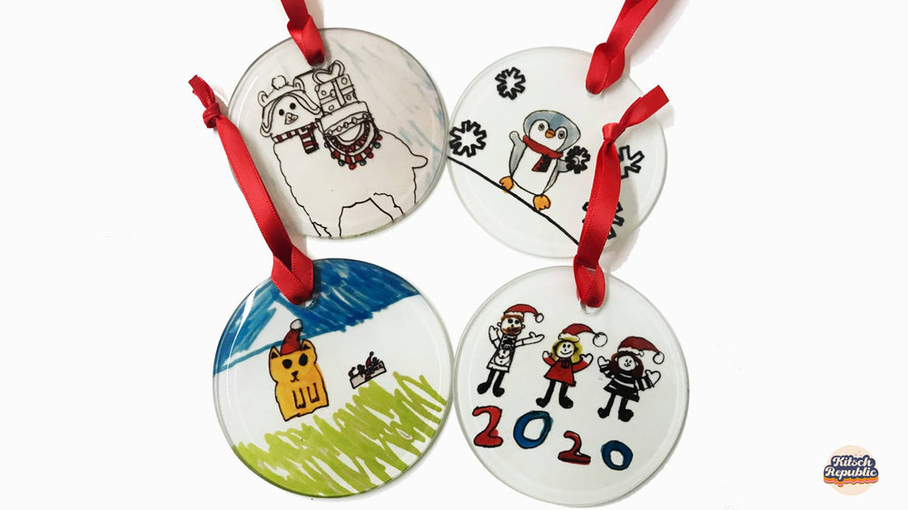 Childrens Drawings Glass Christmas Decoration