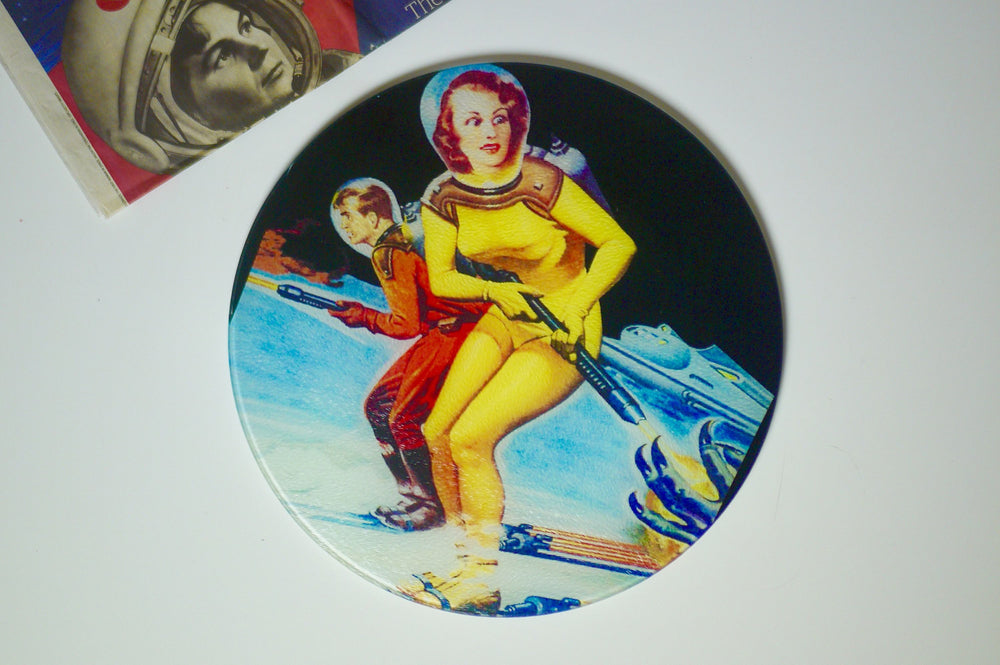 Load image into Gallery viewer, Ski in Space Retro Sci Fi Pinup Glass Worktop Saver - Chopping Board - Placemat - Kitsch Republic