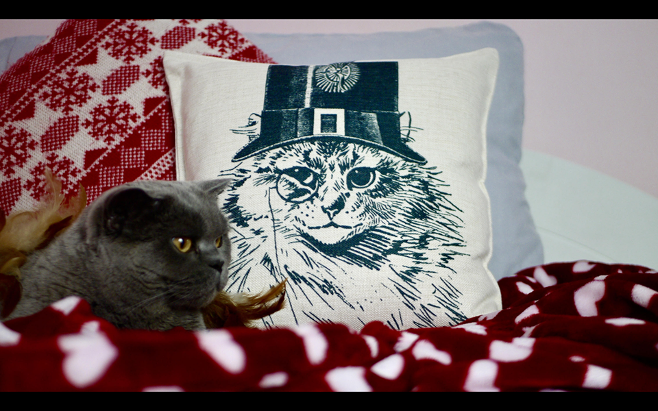 Steampunk Cat in Top Hat - Canvas Feel Cushion inc. Inner 45cm x 45cm - Kitsch Republic