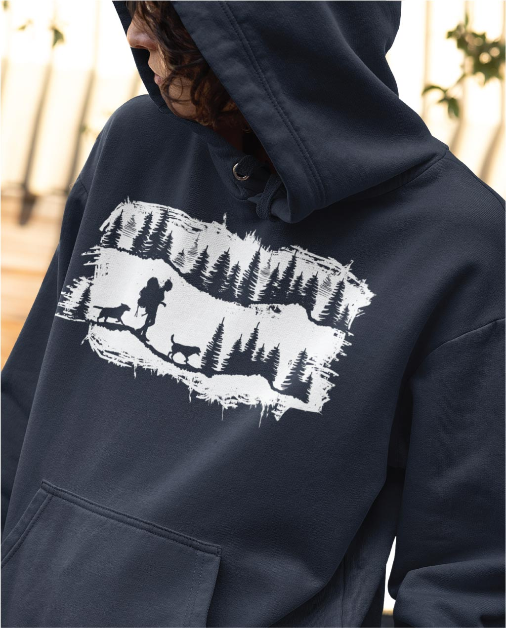 hiking with 2 dogs hoodie