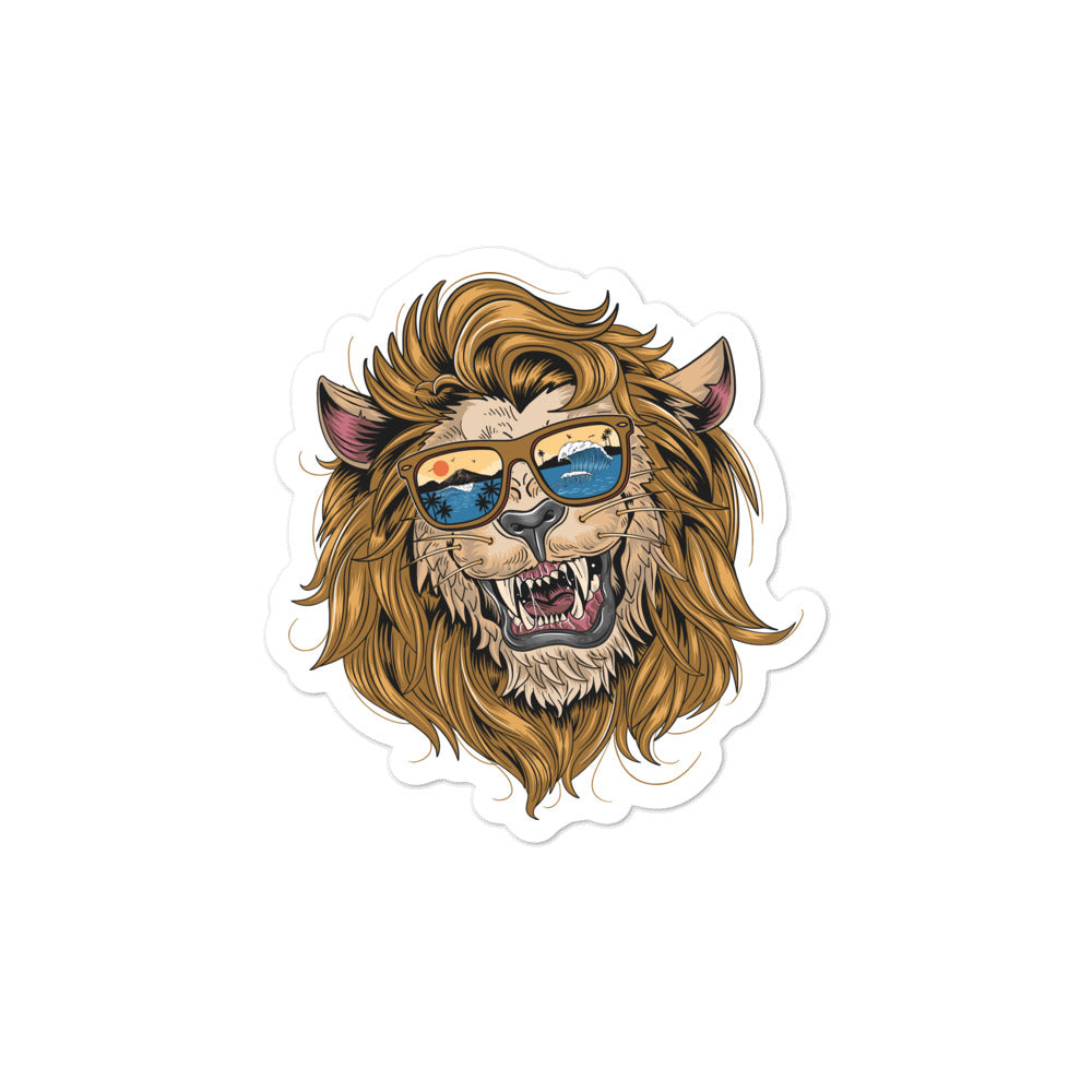 lion on vacation stickers