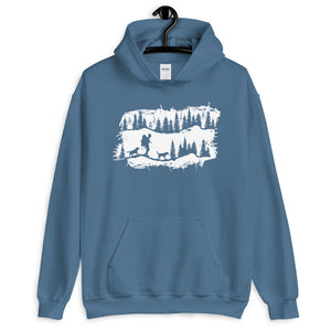hiking with dog hooded sweater