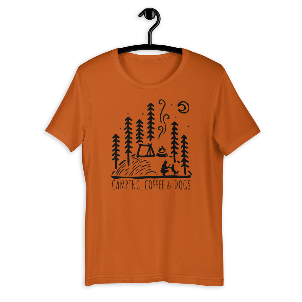 camping with dog womens shirt
